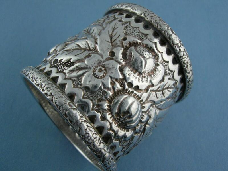 "Antique Coin Silver NAPKIN RING w/ floral & leaf REPOUSSE ""Marie Denis Mercur"""