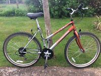 """Ladies Mountain Bike Tundra KX750 18.5"""" Copper & Silver CRO-MO frame 21- Speed; 26"""" alloy wheels"""