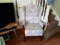 Vintage Retro Style High Back Wing Back Armchair Fireside Chair Bedroom Chair Hall Chair