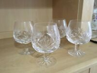 Crystal Cut Brandy Glasses x 4 Lovely Condition