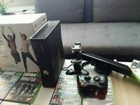 XBOX 360 250GB+ KINECT+CONTROLER CHARGER+GAMES