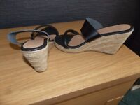 F and F Wedge Mules size 5