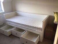 IKEA HEMNES Day-bed frame with 3 drawers and 2 mattresses
