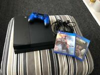 ps4 with controller, leads, battlefield 1 and call of duty ww2