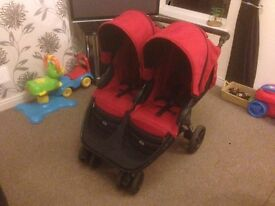 Britax B-Agile Double Pushchair Chilli Red has rain cover and warranty - buggy buggie stroller pram