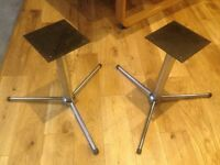A Pair of Solid Chrome Speaker Stands with Detachable legs and Rubber Floor Protectors