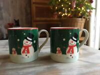 PAIR OF WHITTARDS CUTE SNOWMAN CHRISTMAS MUGS MICROWAVE & DISHWASHER SAFE EX COND