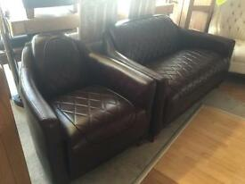 Ex-display** Quality brown leather 2 seater + chair with footstool