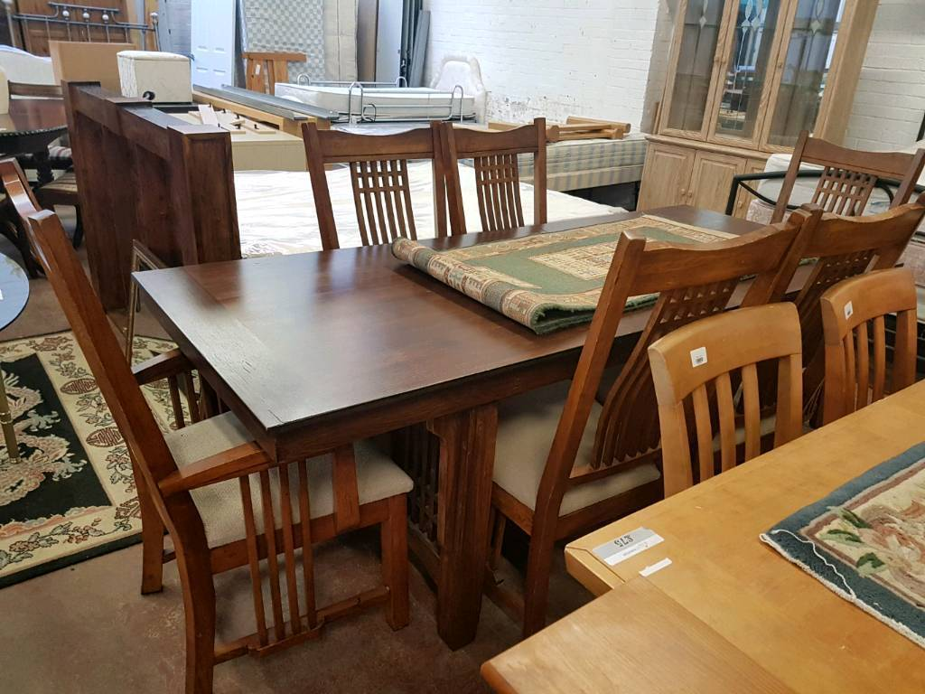 Hardwood extendable table and six chairs