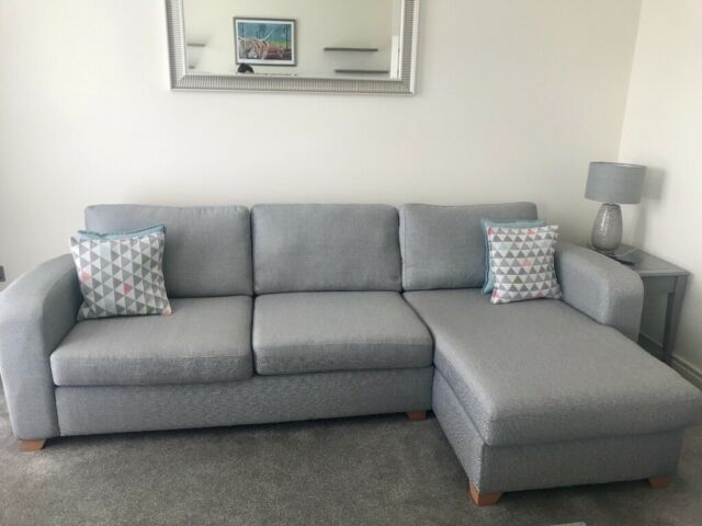Grey 3 Seater Chaise End Sofa And 2