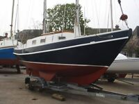 YACHT FOR SALE UNIQUE STEEL HULL SPRAY SCHOONER with custom built trailer Volvo MD 2020 engine