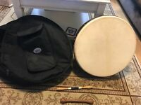 Beautiful bodhran drum complete with carry case.