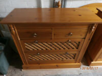 Solid Pine Stylish 4 Drawer Bedroom Unit Good Condition