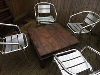 4 aluminium chairs table not included