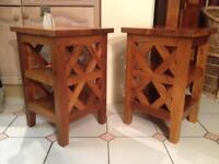 2 X LOVELY SOLID WOOD BEDSIDE TABLES OR 4 DINING ROOM