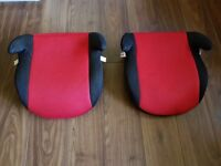 Pair of group 2-3 black/red booster seats, suitable for 15-36kg