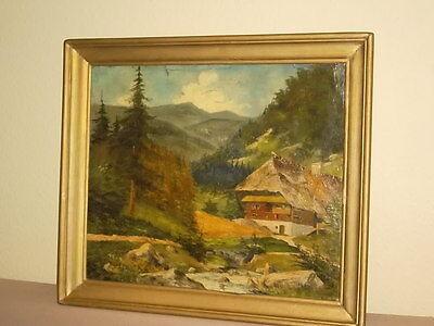 Wohnzimmer orginal Oelbild Almhütte auf Pappe gemalt Antik Auktionshaus Leipzig