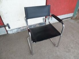 Black Leather Curved chair Delivery Available £3