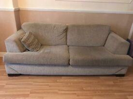 Modern oatmeal velour effect sofa and chair