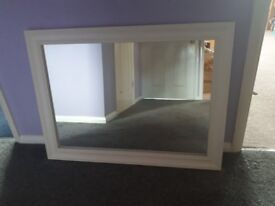 Solid Wood Framed Mirror, White, 60cm x 80cm