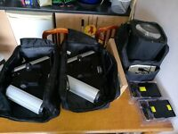 DMX disco/ dj lights, messenger all lightweight LED in carry bags plus 2x morphing lasers £225