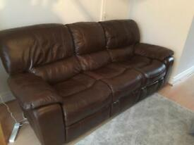 3 seater reclinable leather sofa