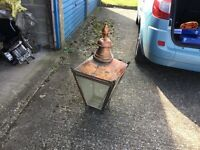 Suggs copper outside lamp , has not been changed to electric ,