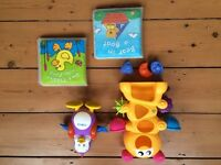 Bath toys Shape sorter, Tomy swimming penguin and 2 waterproof books