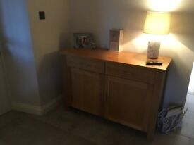 Solid Beech Dining Table Six chairs and Matching Sideboard