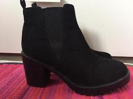 Faux suede heeled boots