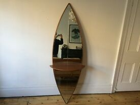 Large Full Length Teak Surfboard Mirror with Shelf Mid Century Rare and Unusual