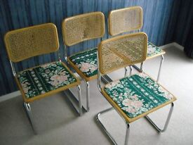 marcel breuer style chrome metal and cane rattan chairs
