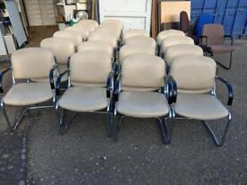 Cream leather reception meeting room conference chairs on a super clearance just £20 each Only!!