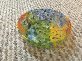 Rainbow patterned glass bowl