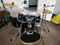 Pearl Export 5 piece drum kit with 3 piece Sabian SBR cymbal set.