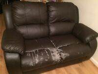 Partly worn Italian reclainer leather sofa for sale