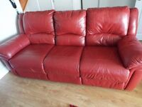 For Sale red Leather 3 seater recliner and...