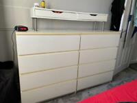 X2 white malm drawers / extra shelf with drawers