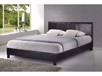 Exclusive OFFER- BLACK OR BROWN PU LEATHER BED FRAM AND MATTRESS DOUBLE/KING SIZE