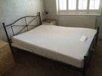 BLACK METAL KING SIZE BED WITH MEMORY FOAM MATTRESS,CAN DELIVER