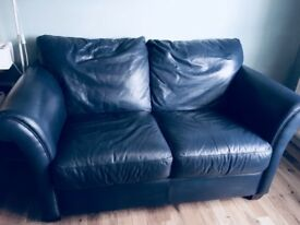 Leather 2 seater navy sofa