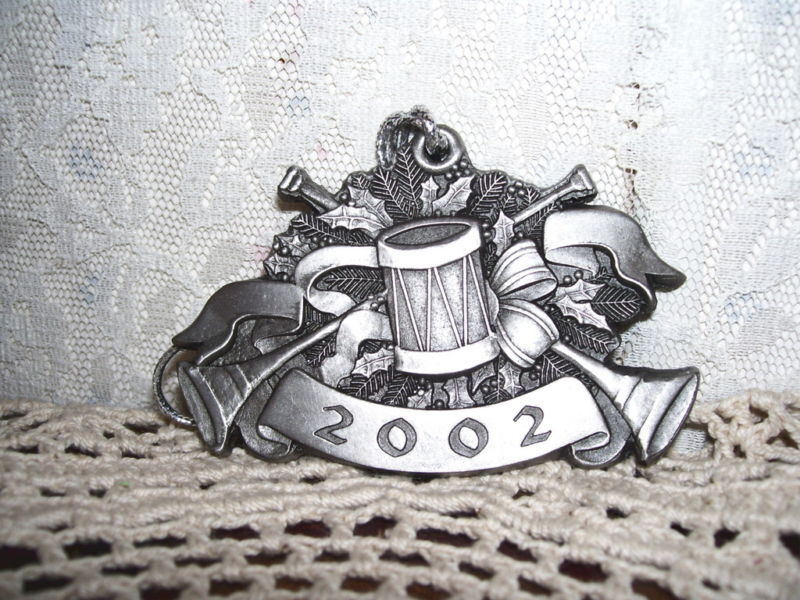 2002 Highland Tank Somerset PA Pewter Christmas Ornament with Drum Trumpet Horn