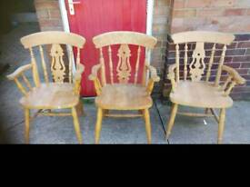 Solid pine carver chairs x3