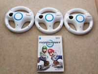 Nintendo Wii Mario Cart Game and 3 Steering Wheels