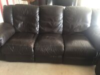 Brown leather 3 piece suite & footstall, with reclining chairs