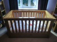 """Mamas and Papas """"Ocean"""" solid oak cot / toddler bed - PRICE REDUCED"""