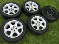 Mg wheels and tyres x4 alloys 1steel spare