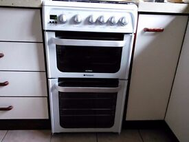 Nearly new HOTPOINT gas cooker, white, 50cms wide