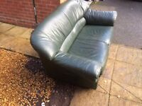 2 Seater Leather Sofa in green