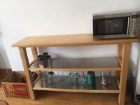 Butcher block - wood with shelves